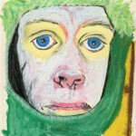 Self-Portrait-with-Green-Hat-Oil-Pastels-23x27cm